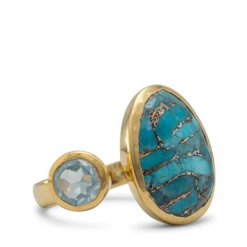 14K Gold Plated Blue Topaz and Turquoise Ring