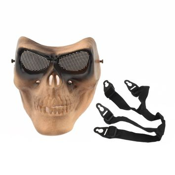 Corpse Skull Head Full Face Mask With Elastic Band Cosplay Adult (Khaki)