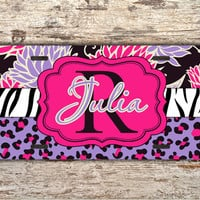 Collage Monogram license plate - Zebra cheetah floral pink purple - car tag personalized bicycle license plate cute bike accessory (1286)
