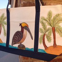Zippered Tote Bag Hand Painted with Pelican and Palm Trees