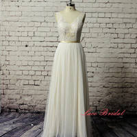 Champagne Wedding dress,  Bridal gown, Simple Wedding gown, wedding dress