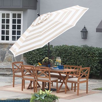 11-Ft Patio Umbrella in Beige and White Stripe with Tilt and Crank Lift
