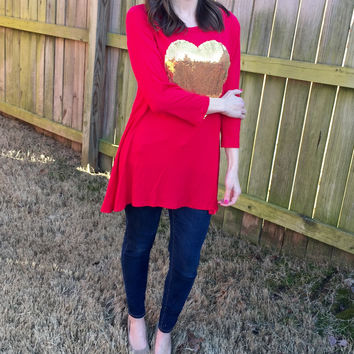 Sequin Heart Tunic - 4 Colors