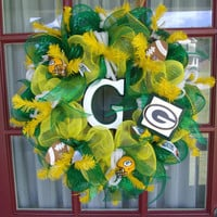 Green Bay Packer NFL Football Fan Green and Yellow Deco Mesh Wreath