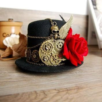 Steampunk Gear & Skull Wing Mini Top Hat Retro Gothic Lolita Fedoras Hats with Flower Handmade Goth Hair Accessories