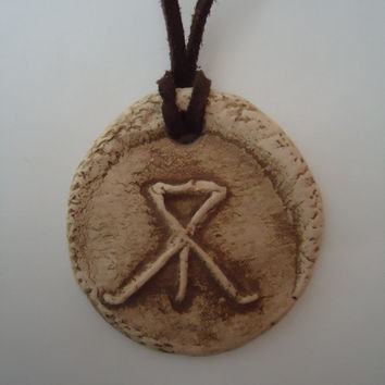 The expelled letter-2. Handmade ceramic pendant. White clay engraved with a Cyrillic letter no longer used. FREE SHIPPING