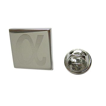 Silver Toned Etched Greek Letter Alpha Lapel Pin