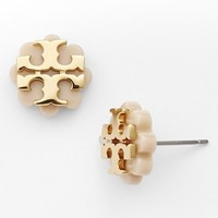 Women's Tory Burch Logo Flower Stud Earrings