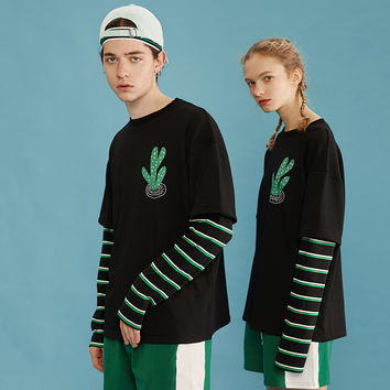 Cactus Color Block Long Sleeves Tee