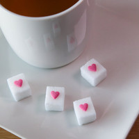 25 Pink Heart Sugar Cubes / Wedding Favors, Baby Shower Favors, Bridal Shower Favors, Mad Hatter Tea Party Favors, Coffee, Tea, Cocktails