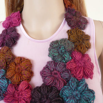 Statement Necklace Crochet Flower Necklace  Crochet Jewelry Fibre art Jewellery