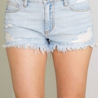 KEY TO BEING ME LIGHT WASH CUT OFF SHORTS