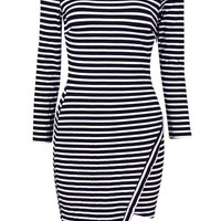 Striped Asymmetrical Long Sleeve Bodycon Mini Dress
