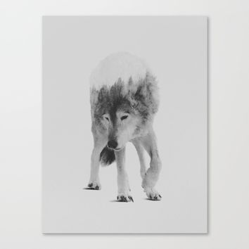 Wolf In The Woods (black & white version) Canvas Print by Andreas Lie