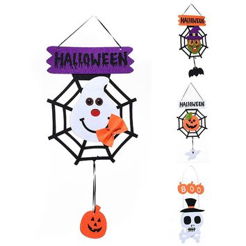 Halloween Non-Woven Febrics Witch Ghost Pumpkin Skull shape Wall Door Hanging  Decoration Supplies