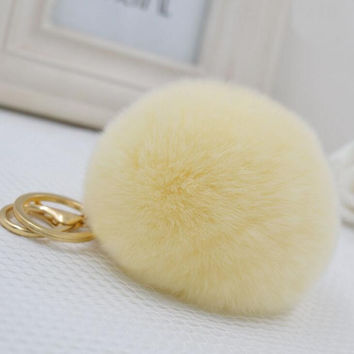 1PCS P&J 2016 New Beige Trinket Keychain Pompons Keychains Fur Keychain Fluffy Key Chains For Cars Keyrings Trinkets