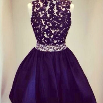 High-neck Short Black Homecoming Dresses