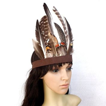 New Indian Tribal Chiefs Feather Headdress Hair Accessories Stage Performance Headwear Head Band for Halloween Costume Dance