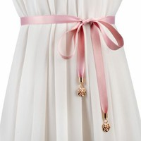 Buy Palmi Metal Rose Ribbon Belt | YesStyle