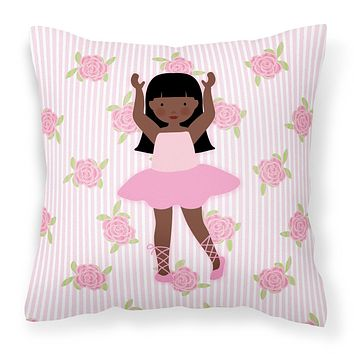 Ballerina African American Long Hair Fabric Decorative Pillow BB5180PW1818