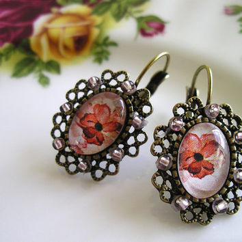 Poppy earrings flower poppies gift under 25 2012 by QueenAndEye