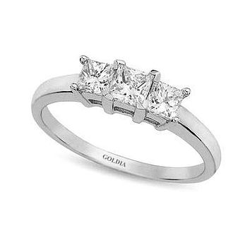 1 ct. Princess Cut Diamond White Gold Three-stone Engagement Ring