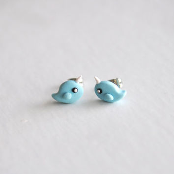 Miniature NARWAL Polymer Clay--Earring Studs