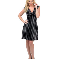 Black & White Dot Mandie Bee Knotty Knit Flare Dress