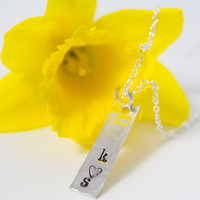Hammered Sterling Silver Stamped Initials Necklace with Striped Heart - Couple's Necklace, Engagement Gift, Bridal Shower Gift