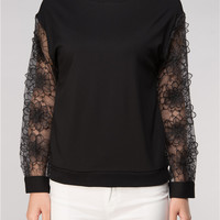 3D Floral Sheer Sleeves Top