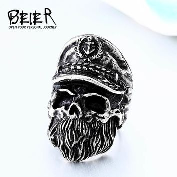 BEIER Fashion Gothic Style Gold Color Old Man Skull Captain Movie  Navy hat Stainless Steel Men Ring dropshipping 2018 BR8-561
