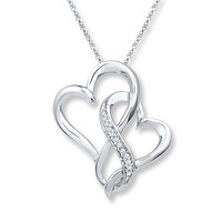 Infinity Heart Necklace 1/20 ct tw Diamonds Sterling Silver