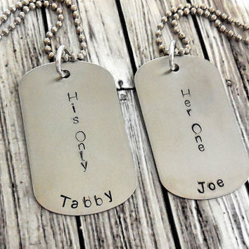 Personalized BDSM Her One And His Only Add Your Name, Stainless Steel Dog Tags And Stainless Steel Ball Chains / BDSM His And Hers Dog Tags