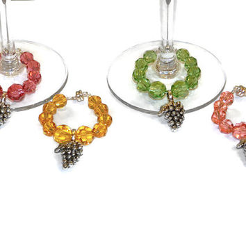 Fancy Exquisite Magnetic Wine Charms,Custom Orders Welcome, Many Colors, Many Themes Available, The person who has everything  QTY:  4