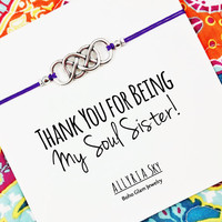 "Silver Double Infinity Friendship Bracelet with ""Soul Sister"" Card 