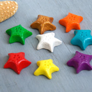 Cute Starfish Adjustable Rings, Colorfoul Handmade Summer Rings, Polymer Clay