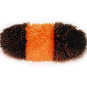 Wooly Bear Orange and Black Fuzzy Caterpillar Stuffed Toy Snuggle Worm Plushie