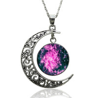 Women Galaxy Moon Accessories Silver Pendant Necklace (Chain length: 18 ') = 1946154116