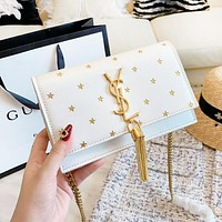 YSL New fashion embroidery star leather tassel shoulder bag women White