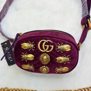Gucci Wine red  Waist Bag With Shoulder Bag Fasion Small Bag Lion head-Cute Cicada bag