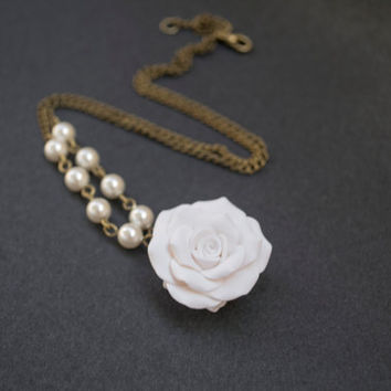 Polymer Clay White Rose Necklace Pearl Necklace by sevdacholakova