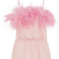 Prada - Feather-trimmed crinkled silk-chiffon camisole