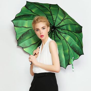 Banana Leaf 3D Oil Painting Pattern Folding Women Sunny Rainy Parasol Umbrella Creative Black Coating Fashion Strong Windproof