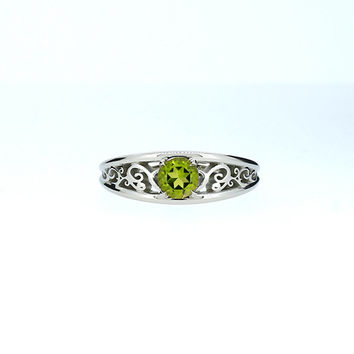 Peridot filigree engagement ring, white gold, green solitaire ring, unique wedding ring, peridot wedding, custom filigree ring, light green