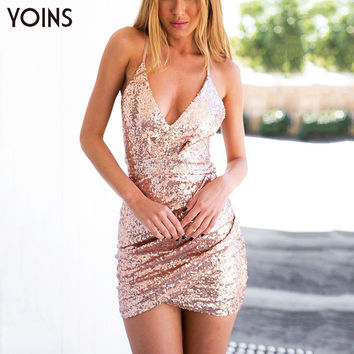 YOINS Women Sexy Sequin Dress Casual Sleeveless Strap V-neck Slim Bodycon Dress with Cut Out Back Clubwear Dress