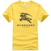 Burberry Summer New Fashion Letter War Horse Print Women Men Leisure Top T-Shirt Yellow