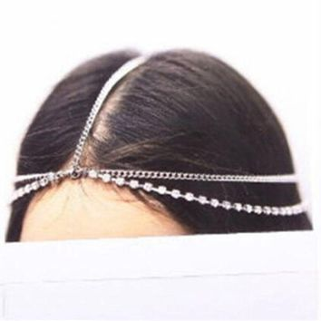 Fashion Boho Women Metal Gold Silver Multilayer Head Chain Headband Headpiece Bridal Wedding Hairstyle Hair Accessories