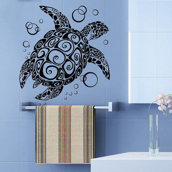 Wall Decals Vinyl Decal Sticker Home Interior Design Art Mural Sea Ocean Animals Turtle Bubbles Bathroom Kids Nursery Baby Room Decor KT77