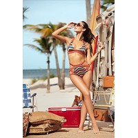 Printed Top and Matching High Waisted bottom Two Piece Swimsuit