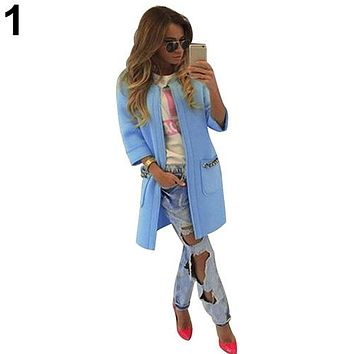 Women's Casual Candy Color Pockets Collarless Thick Coat Greatcoat Winter Lady Long Sleeve Cotton Outerwear Coat